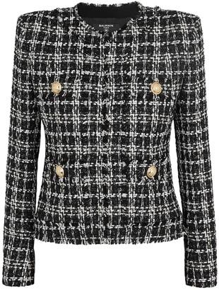 Balmain Monochrome metallic-weave tweed jacket