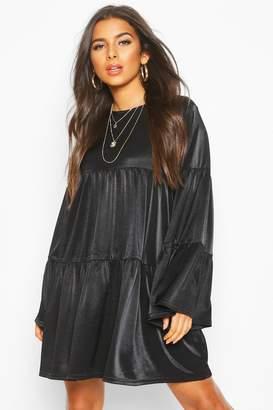 boohoo Flared Sleeve Smock Dress