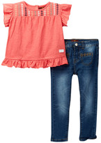 7 For All Mankind Embroidered Blouse & Jean Set (Toddler Girls)
