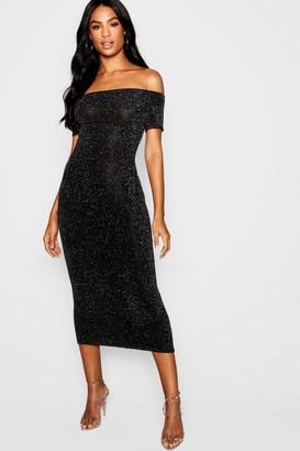 boohoo Tall Shimmer Off Shoulder Midi Dress