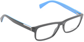 Prada Matte Black & Blue Square Eyeglasses