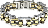 JCPenney FINE JEWELRY Mens Stainless Steel with Black & Gold-Tone IP Motorcycle Bracelet