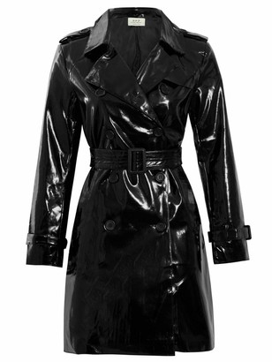 Ss7 Womens Patent Trench Coat MAC Raincoat Ladies New Size 8 10 12 14 16 Black