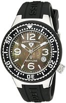 Swiss Legend Women's 11044P-01MOP Neptune Black Mother-Of-Pearl Dial Black Silicone Watch