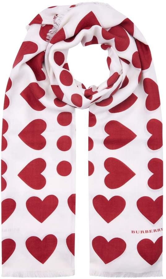 Burberry Heart and Spot Wool Silk Blend Jacquard Scarf