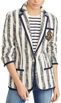 Lauren Ralph Lauren Striped Cotton Bouclé Logo Patch Blazer