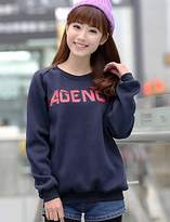 EYYYZIQ CU@EY Woen's Letter Korean Style Large Size Hoodies , Casual Round Neck Long Sleeve