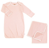 Tadpoles Salmon Pinstripe Organic Sleep Gown & Receiving Blanket
