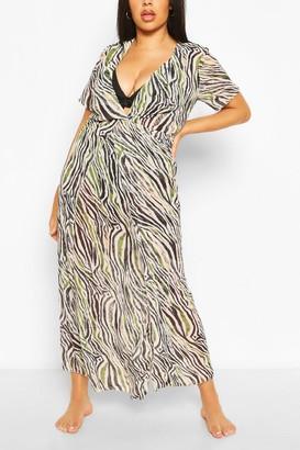 boohoo Plus Zebra Print Maxi Beach Dress
