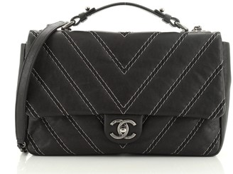 Chanel CC Chain Top Handle Flap Bag Stitched Calfskin Medium