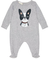 Gucci Long-Sleeve Bulldog Footie Pajamas, Gray/Black, Size 3-12 Months