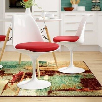 Hesson Solid Back Dining Side Chair George Oliver Cushion Color: Red