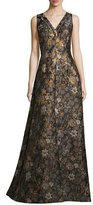 Aidan Mattox Sleeveless Metallic Floral Jacquard Gown, Brown
