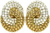 """GirlPROPS(R) 1 1/8 X 1 1/2"""" Interlocking Circles Pave' Earrings, Clip On In Crystal with Gold Finish"""