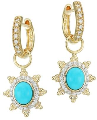 Jude Frances Provence 18K Yellow Gold, Turquoise & Diamond Pave Halo Sunburst Earring Charms