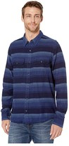 Toad&Co Indigo Flannel Slim Long Sleeve Shirt (Medium Indigo Horizontal Stripe) Men's Clothing