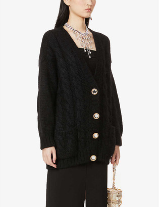 Alessandra Rich Cable-knit knitted cardigan