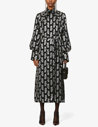 16Arlington Namika floral-print metallic-jacquard coat