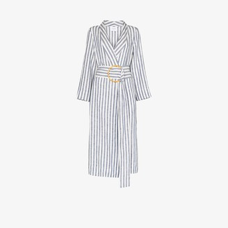 Sleeper Ruled linen robe dress
