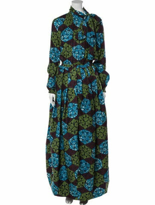 Stella Jean Floral Print Long Dress w/ Tags Blue