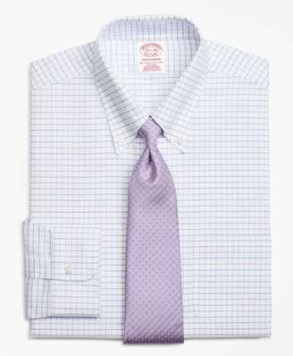 Brooks Brothers BrooksCool Traditional Relaxed-Fit Dress Shirt, Non-Iron Windowpane