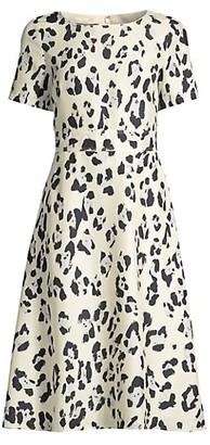 Lafayette 148 New York Amanda Print Silk Short-Sleeve Flare Dress