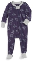 Infant Boy's Burt's Bees Baby Watercolor Organic Cotton Fitted One-Piece Pajamas