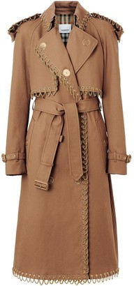 Burberry Chain Detail Cotton Gabardine Trench Coat