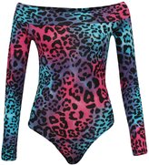 Fashion Box Womens Shoulder Off Neon Leopard Printed Sexy Bodycon Bodysuit