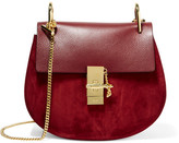 Chloé Drew Small Leather And Suede Shoulder Bag - Burgundy