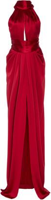 Naeem Khan Draped Silk-Satin Halterneck Gown