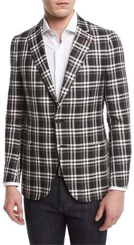 Isaia Domenico Plaid Two-Button Sport Coat, Black/White