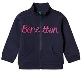 Benetton Navy Long Sleeve Zip Sweater Jacket With Knit Logo