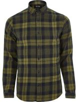 River Island MensDark yellow Only & Sons casual check shirt