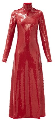 Bottega Veneta High-neck Open-back Sequinned Gown - Red