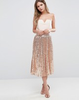 TFNC Pleated Midi Skirt In All Over Sequin