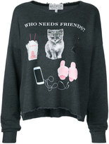 Wildfox Couture Who Needs Friends T-shirt - women - Cotton/Polyester - S