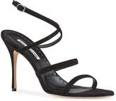 Manolo Blahnik Bacca Suede Strappy Stiletto Sandals
