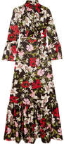 Erdem Stephanie Floral-print Silk-satin Gown - Black