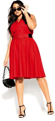 City Chic Vintage Veronica Dress - lipstick