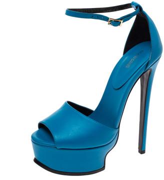 Roberto Cavalli Blue Leather Ankle Strap Platform Sandals Size 36