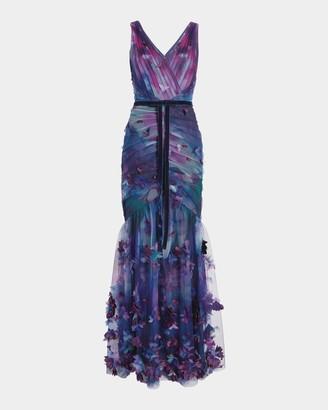 Marchesa Notte 3D-Floral Fit Flare Gown