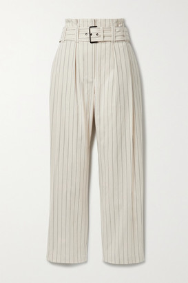 Brunello Cucinelli Regimental Belted Pleated Pinstriped Cotton-blend Straight-leg Pants - Beige