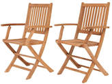 International Home Miami London Teak Outdoor Folding Chairs - Set of 2