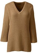 Classic Women's Tall Lofty 3/4 Sleeve V-neck Sweater-Camel