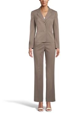Le Suit Long-Sleeve Pinstripe Blazer Pant Suit
