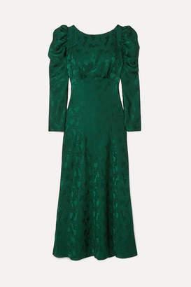Saloni Alena Ruched Silk-jacquard Midi Dress - Forest green