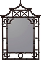 The Well Appointed House Lacquered Brown Mahogany Pagoda Bamboo Mirror - CURRENTLY ON BACKORDER UNTIL LATE DECEMBER