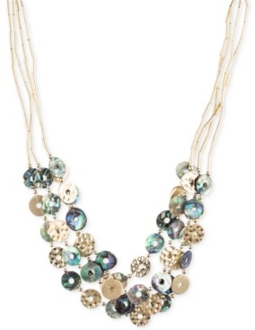 lonna & lilly Gold-Tone Tube Chain Multi-Disc Collar Necklace