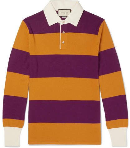 Gucci Embroidered Striped Wool Polo Shirt